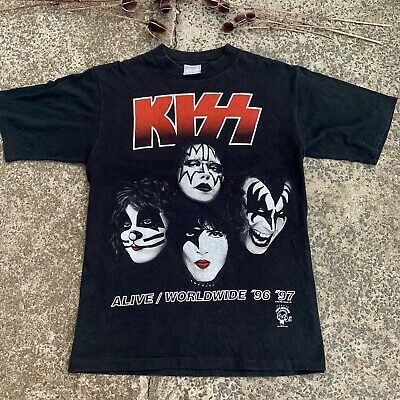 Kiss 96/97 Single Stitch Double Sided Tour Tee Sz Large & Soft As A Baby's Butt.