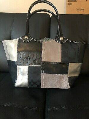Real Coach Purse, Black, Silver, and Gray, Hot Pink Multi Color