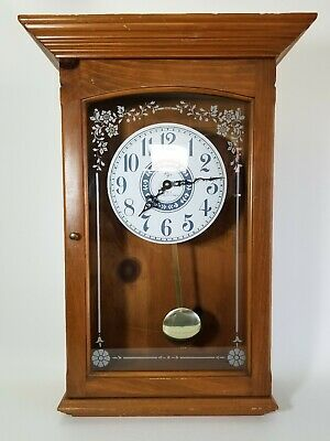 VINTAGE ELGIN QUARTZ WESTMINSTER CHIME WOODEN WALL CLOCK w/PENDULUM 24""