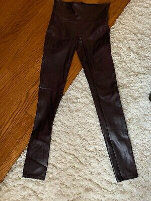 Spanx Faux Leather Leggings Burgundy Small NWOT