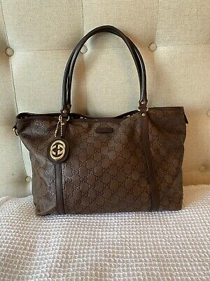 Authentic GUCCI GG Brown Canvas / Leather Shoulder  TOTE Hand Bag - ITALY