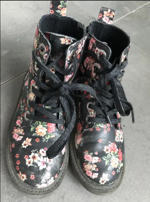 Zara Bikers Boots Kids Shoes Girls Flowers as Dr Martens UK 11 EU 29 Black boots