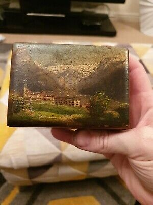 Antique Rare Swiss Engelberg Wooden Pocket Watch Box Black Forest Hand Painted