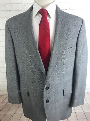 Huntington Mens Gray Plaid Blazer 43 R $225