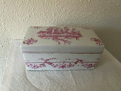 Antique Vintage Chinese Pink Porcelain Divided Compartment Box w/ Lid