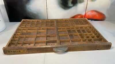 Antique French Beech Etoile Timber Printers Letter News Trinket Display Tray