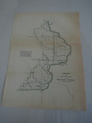 """Antique Map """"Sketch of the Public Surveys in Wisconsin Territory"""""""