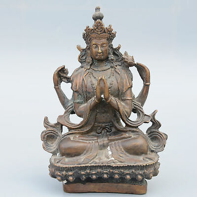 Collect China Old Bronze Hand-Carved Moral Bring Luck Kwan-Yin Buddhism Statue