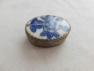 Small Antique Chinese Tin Box with Hand Painted Floral Porcelain Piece