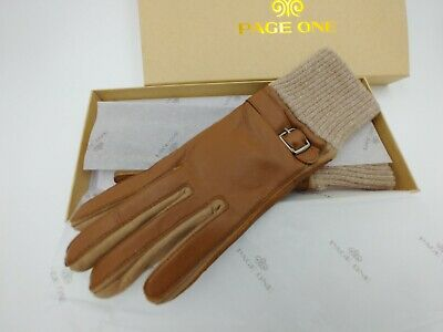 Page One Women's Genuine Leather Fashion Gloves Size L Brown Box Included
