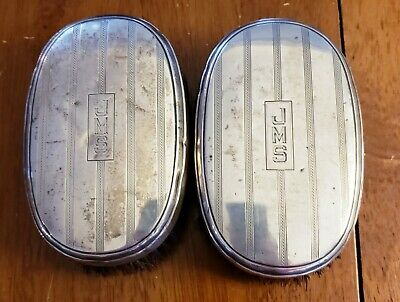 Lot Of 2 Antique Sterling Silver Baby Brushes Excellent Condition