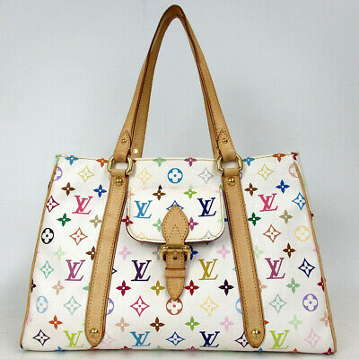 Authentic LOUIS VUITTON Monogram multicolor Aurelia MM Shoulder Bag PVC/leat...