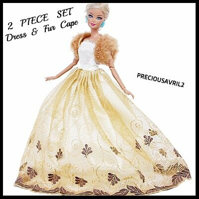 New Barbie doll clothes clothing outfit gown evening dress & fur cape.