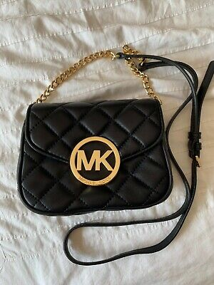 Michael Kors Black Quilted Small Purse Gold Metalware 100% Genuine