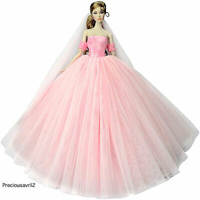 New barbie doll clothes outfit princess wedding pale off-shoulder pink dress