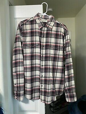Saint Laurent Paris SLP Plaid Check Western Snap Shirt Size Medium SS18
