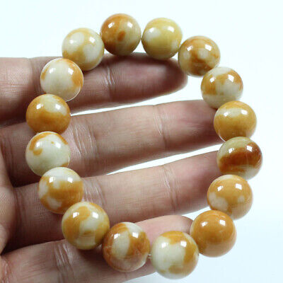 Certified Grade A  Jadeite Jade Brown 14mm Beads hand chain Bracelets  j810