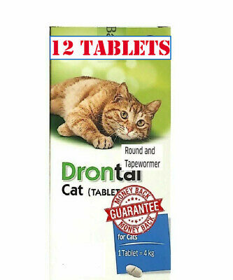 Drontal for Cats Kittens 12 Tablets Dewormer Roundworm Tapeworm Allwormer