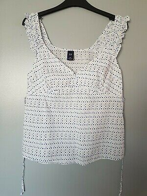 Gap Ladies Strappy Vest Cotton Top, White Polka Dot, Tie Back Frilly Size Small