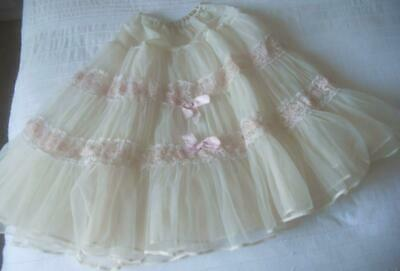 Vintage Early 60'S Osti Can Can Nylon Petticoat Very Full Lace & Ribbon Trim W