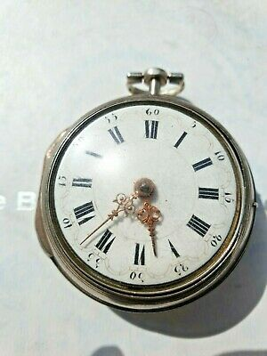 Antique English Silver Verge Peir Case Pocket Watch circa 1777
