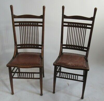 Superb Pair of Antique Arts & Crafts Oak Chairs Attributed to William Birch