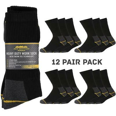 Iron Mountain Workwear Mens Thermal Comfortable Heavy Duty Work Socks 12 Pack