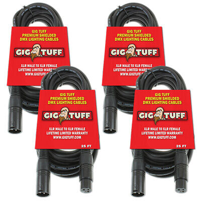4-Pack Gig Tuff 25' ft Premium DMX Cable 3-Pin Shielded Lighting XLR Male Female