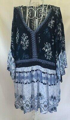 Style & Co Womens Blue Pheasant Floral Bell Sleeves Pullover Top Blouse L-XL