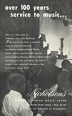 Nicholson's Sydney's Senior Music Store - Vintage Original Advertisement 1962