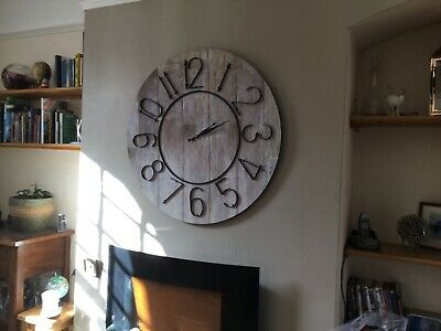oversized metal and wood effect wall clock. shabby chic. industrial style.