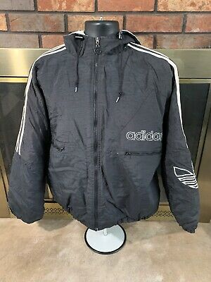 Vintage Adidas Hooded Puffer Jacket Coat Spellout Logo Mens Size XL Black