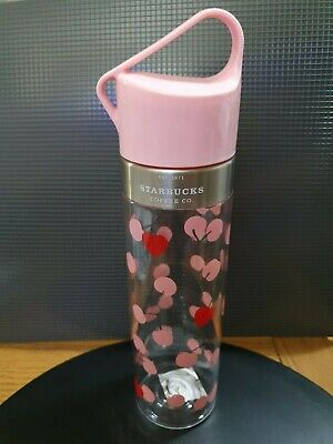 Starbucks PINK CHERRY HEART WATER BOTTLE 20oz/591ml TUMBLER/FLASK