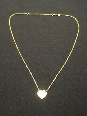 "925 Gold over Sterling Silver Heart Necklace 16-18"" Long ~ Engravable"