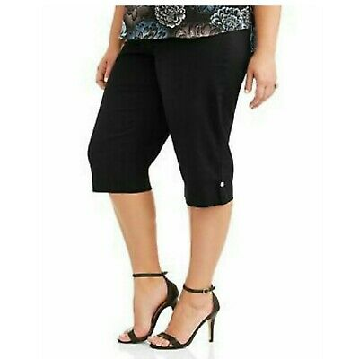 Just My Size Pull On Bling Denim Capris Plus Size 3X Black Stretch Jeans NWOT