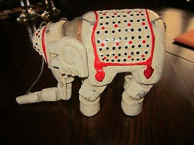 Vintage Hand Carved Wooden Elephant Marionette String Puppet Jointed and Painted