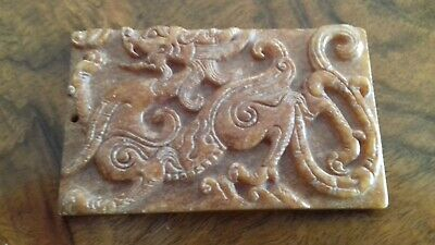 Chinese Hardstone Agate Dragon plaque - Qing dynasty.