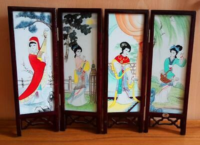 Chinese Lacquer Handwork Painting Beauties + Cranes Screen Decoration