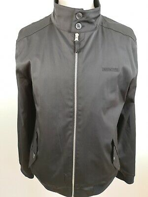 Men's Large Lambretta Harrington Black Bomber Jacket Mod Classic Cotton Blend