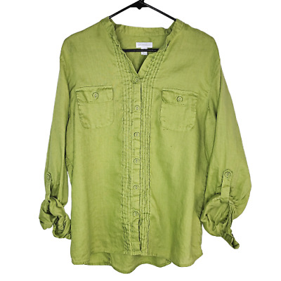 Charter Club Womens 100% Linen Top Size 16 Green Tab Sleeve Button Up Pleated