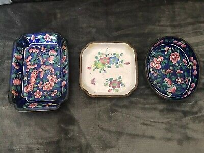 3 Asian Oriental Antique Enamel Metal Pin Dishes From China