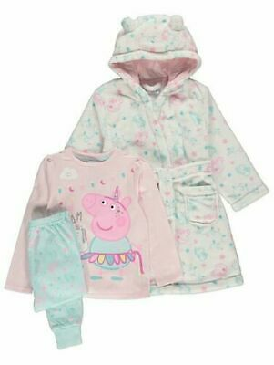 Peppa Pig Girls Unicorn Pyjamas Pjs & Dressing Gown 3 Piece Set 1 - 6 Years BNWT