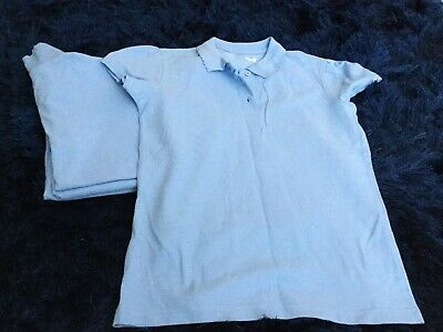 George At Asda Girls Age 9-10 Years Old 4x Blue Poloshirts