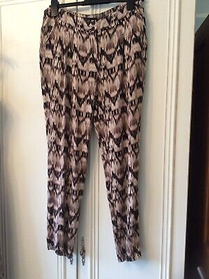 Ladies Next brown summer harem trousers size 10 vgc