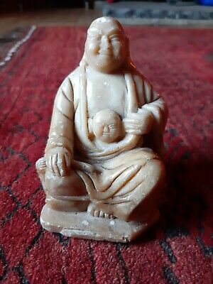 Antique Chinese carved soapstone laughing Buddha