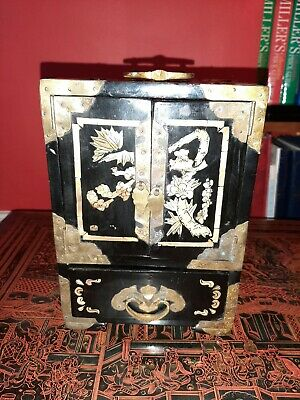 Chinese Lacquered and brass bound jewellery box with mother of pearl inlay.