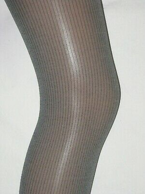 Grey Pinstripe Tights. Girls Age 8-9 Opaque