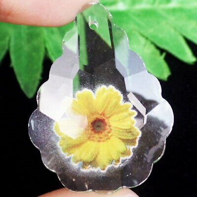 Carved Faceted Titanium Crystal Agate Flower Teardrop Pendant Bead L06236