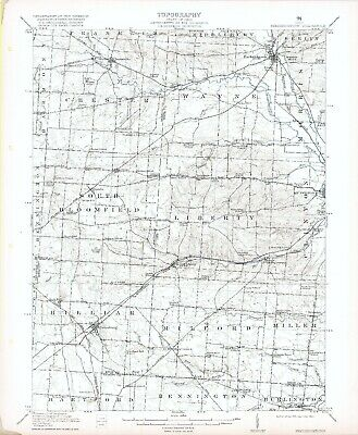 1915 Fredericktown OH USGS Topo Map Chesterville Bangs Mt Liberty Centerburg