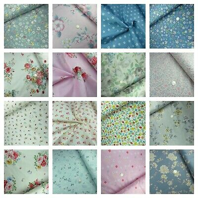 100% Cotton Floral Fabric Vintage Roses Dress Craft Material Sold per metre